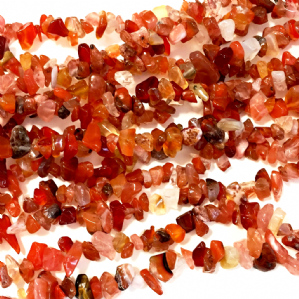 36 Inch Natural Carnelian 5-8mm Chip Beads